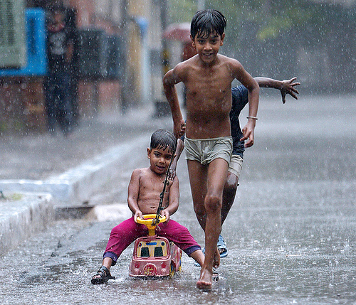 Children playing in the Monsoon