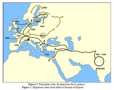 El mapa muestra el recorrido del pueblo gitano desde Punjab hasta España, a lo largo de los siglos.
