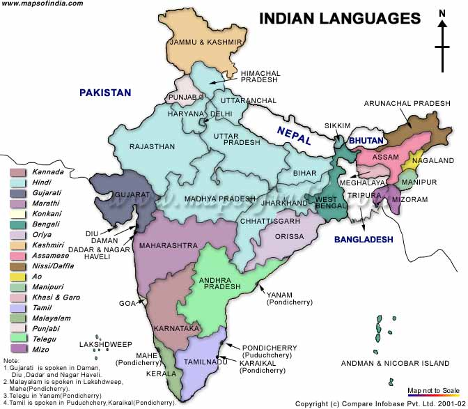 Mapa de las lenguas principales en India