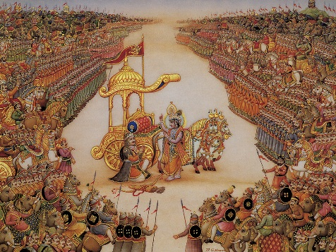 Illustration of Arjuna and Krishna before the battle