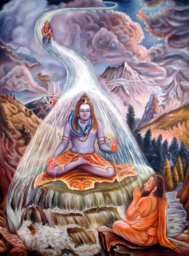 La diosa Ganga lanzándose a través de los cabellos de Shiva