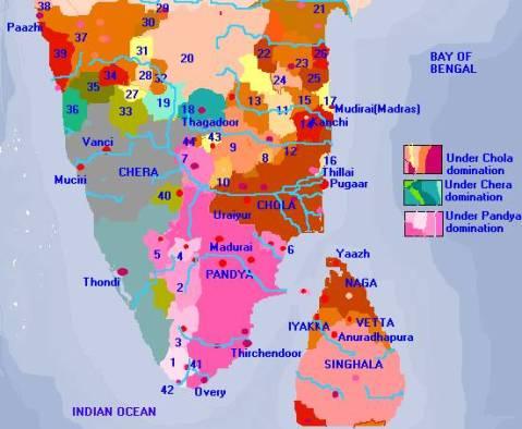 Mapa de los imperios del sur de India (s.II a.C)
