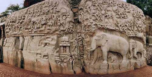 Peñón de los elefantes, en Mahabalipuram