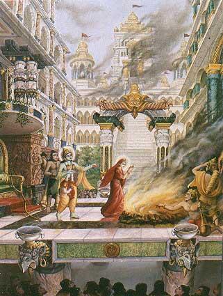 Sita lanzándose al fuego