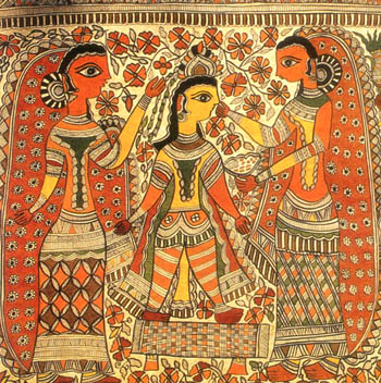 A Madhubani painting in the typical Kayastha tradition. Predominant colors used are red, yellow and black.