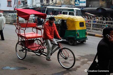 Un típico rickshaw