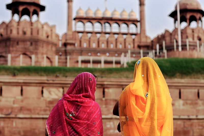 Llevando sari en Red Fort, Delhi