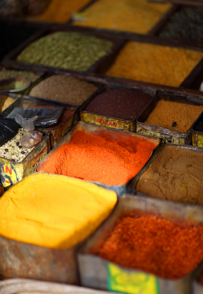 Spices on a market in Patan