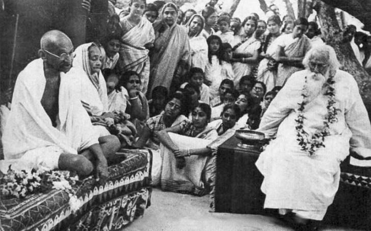 Shantiniken 3-Tagore y Ghandi en Shantiniketan 1940