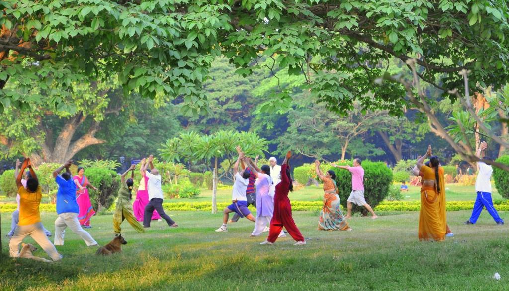 Vuelo directo a Delhi - Viajar a Bangalore. Yoga en el Parque Cubbon