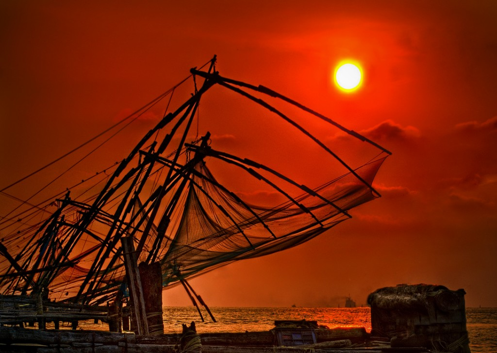 Chinese sunsets and nets at the port of Fort Cochin in Kerala