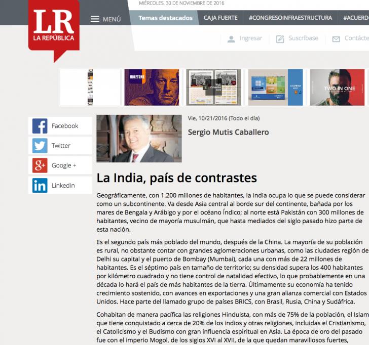 Columna de Sergio Mutis India País de Contrastes