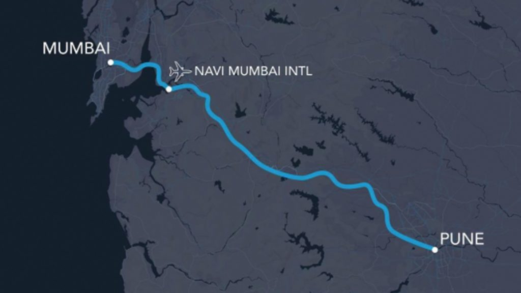 Trayecto del primer hyperloop en India: Mumbai - Pune