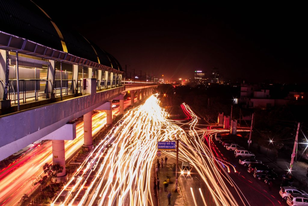 Driving in India: Traffic light trails in India