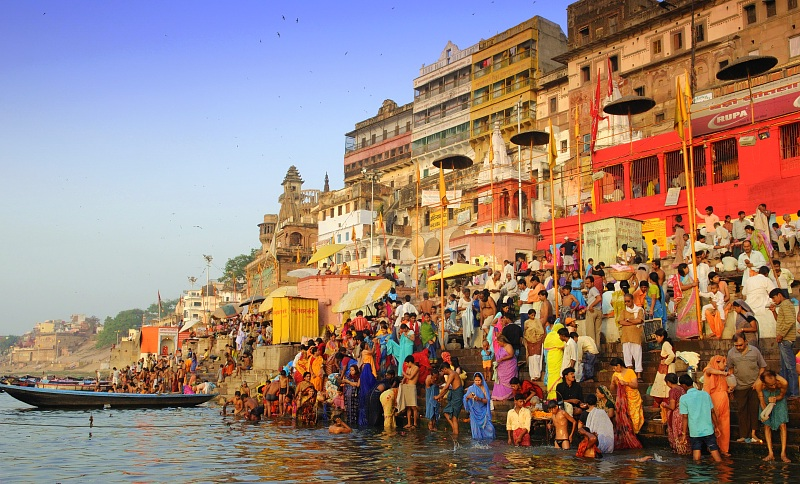 Colors and people in the city of Varanasi in India