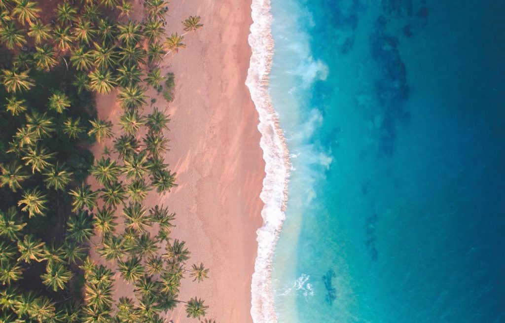 Sri Lanka beach photographed with drone