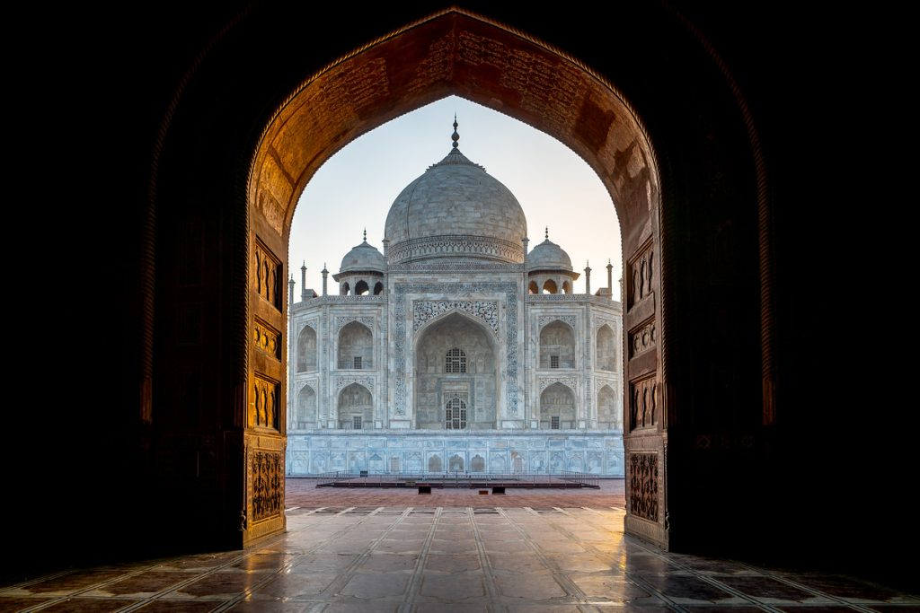 Taj Mahal in India from front door