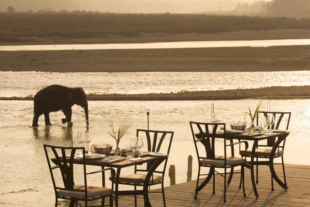 Cena romántica en el río Rapti que pasa junto al Meghauli Serai