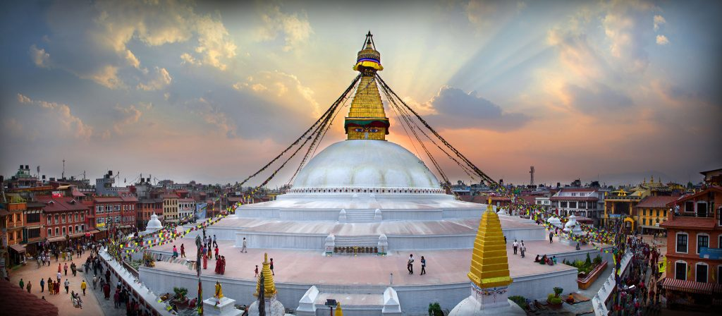 The great stupa of Bounadath in the center of Kathmandu in Nepal