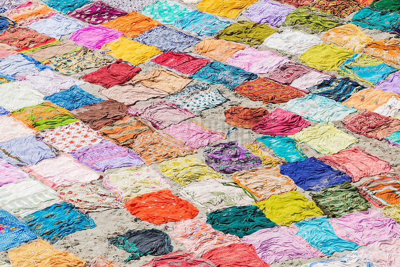 Colorful Saris in India drying