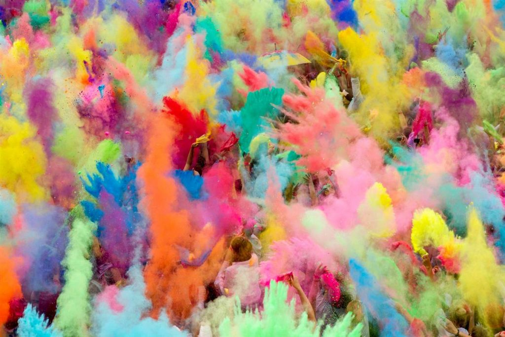 Colored powders from Holi