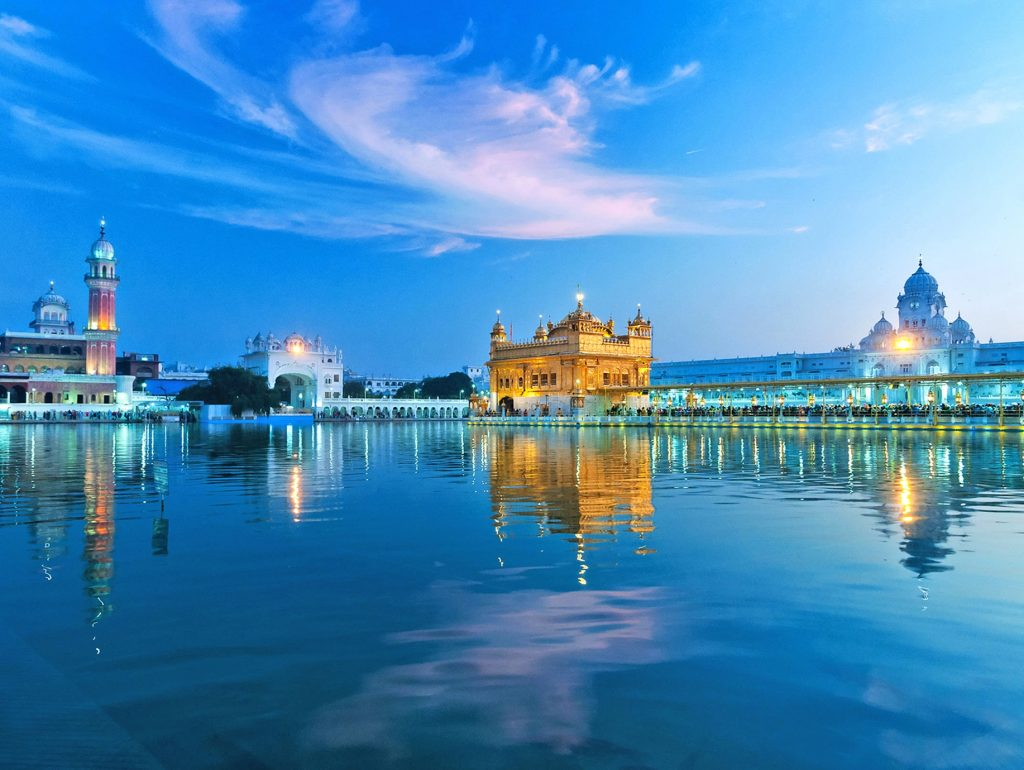 Golden Temple of Amritsar at sunset