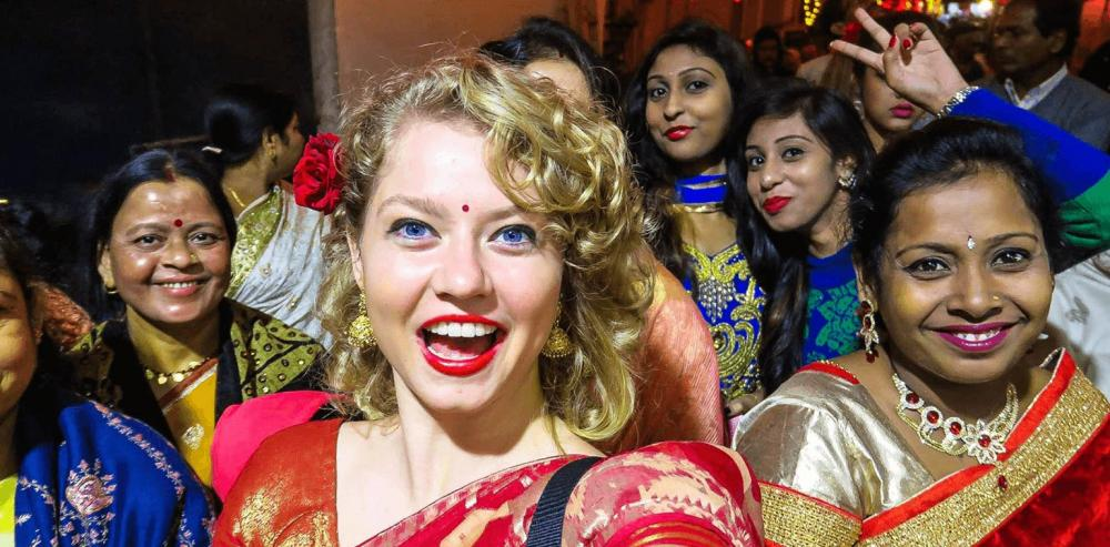 Western traveler during an Indian wedding in Udaipur