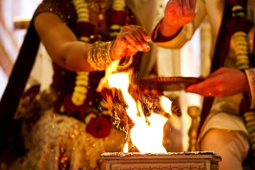 Groom at an Indian wedding before the purifying fire