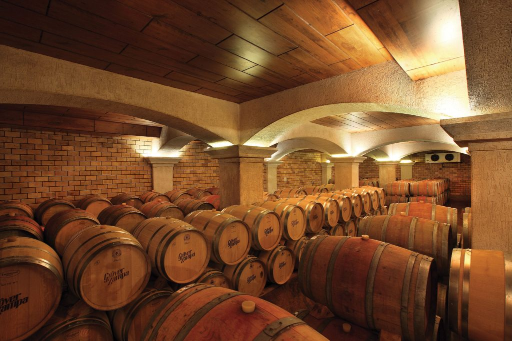 Red wine barrels in India