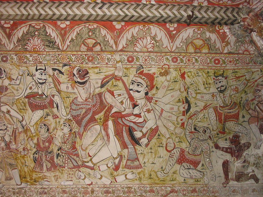 Pinturas en uno de los templos de Orchha