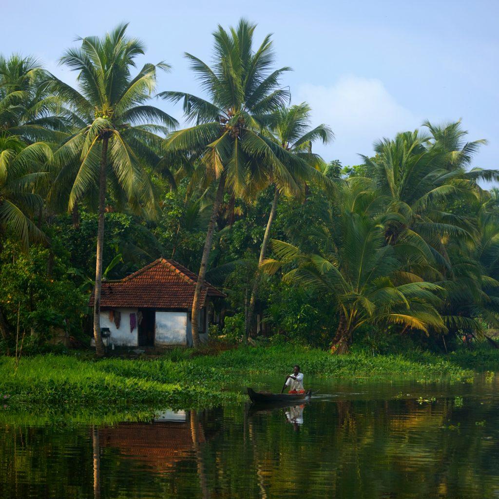 Pescador, palmeras y casa portuguesa en lo backwaters de Kerala