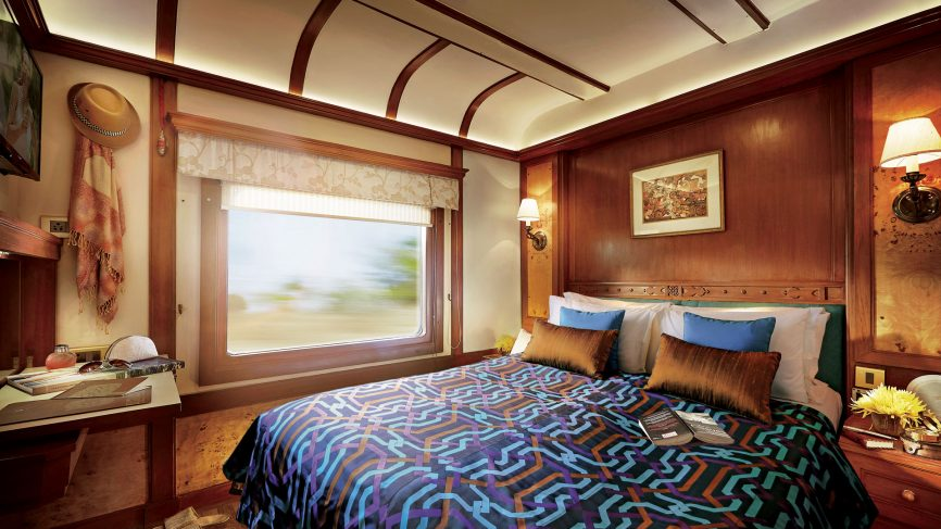 Deccan Odyssey train suite as it passes through India