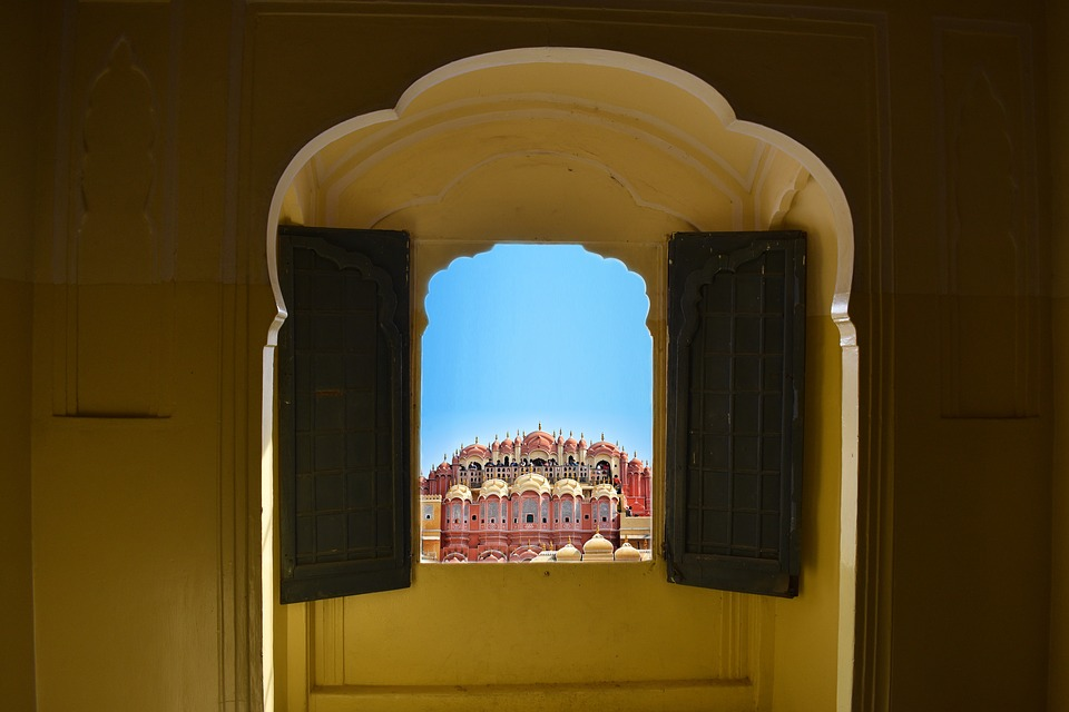 Jawa Mahal of Jaipur seen through a window