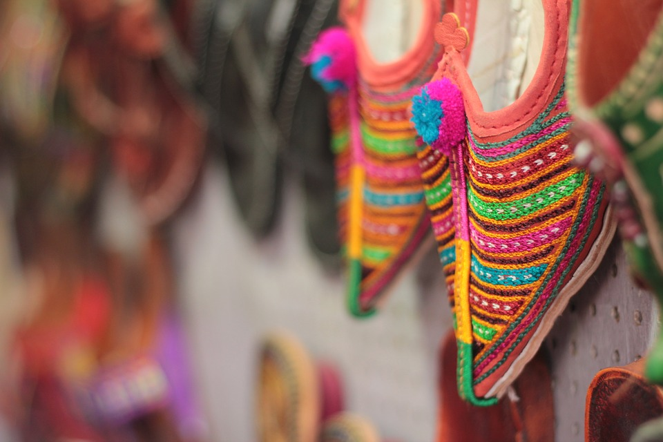 Colored sneakers in a market in Jaipur