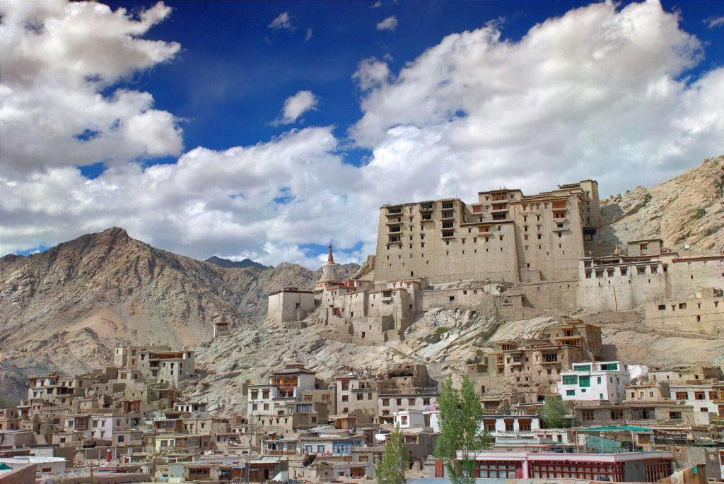 Royal Palace and mountains of Leh