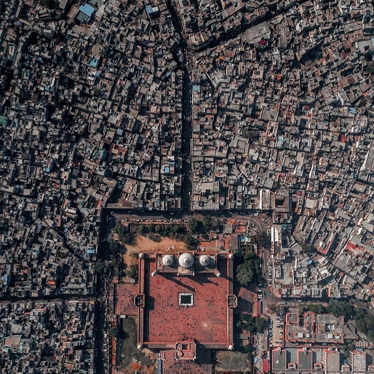 Mezquita Jama Masjid de Delhi vista desde el aire