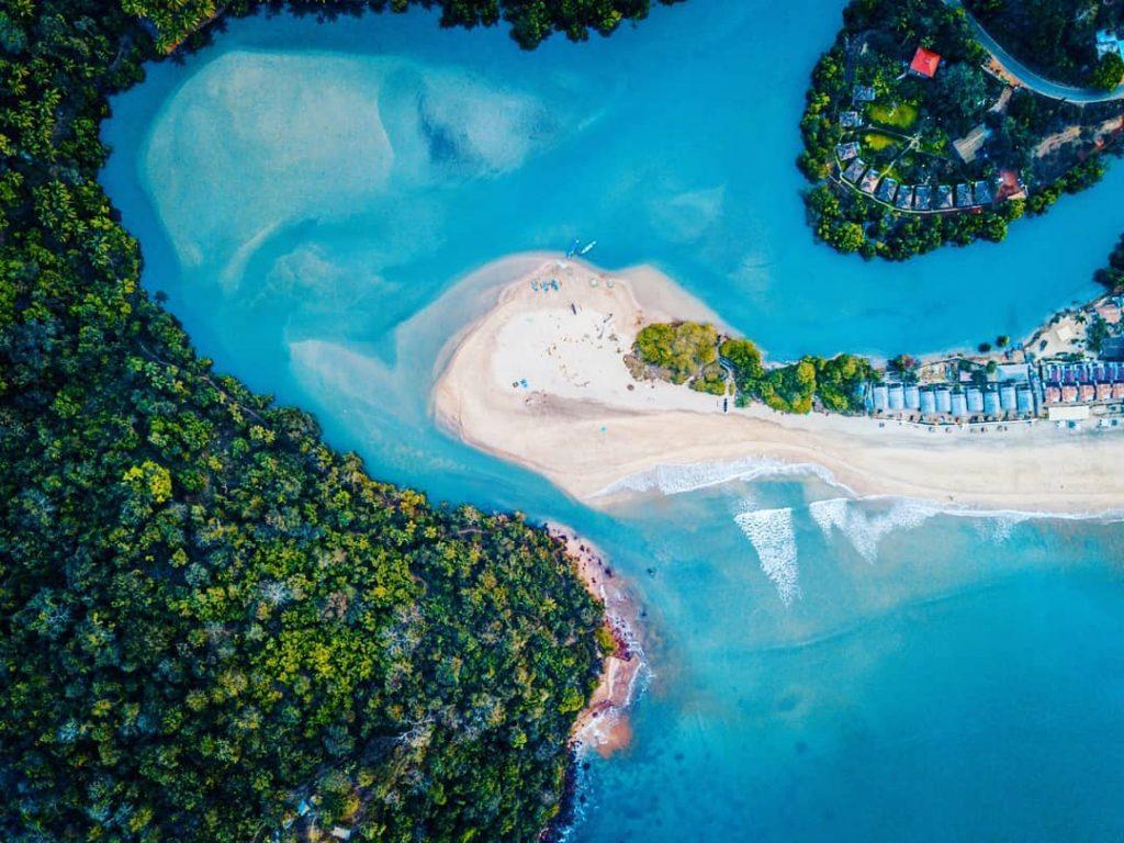 Bahía de Goa fotografiada desde un dron