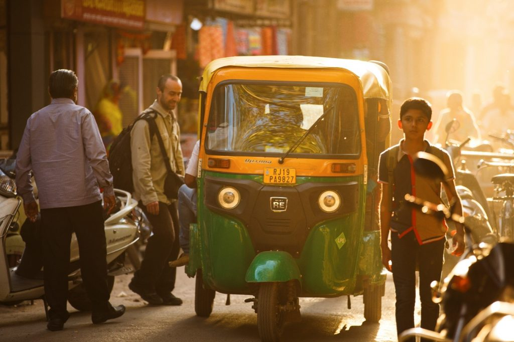 Rickshaw through the streets of India