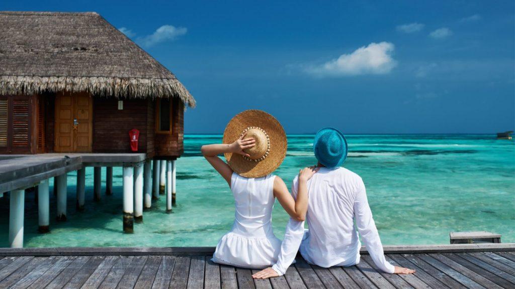Recién casados en un resort de Maldivas