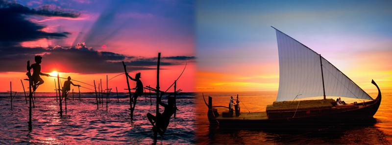Pescadores Zancudos Sri Lanka y Dhoni en Maldivas al atardecer
