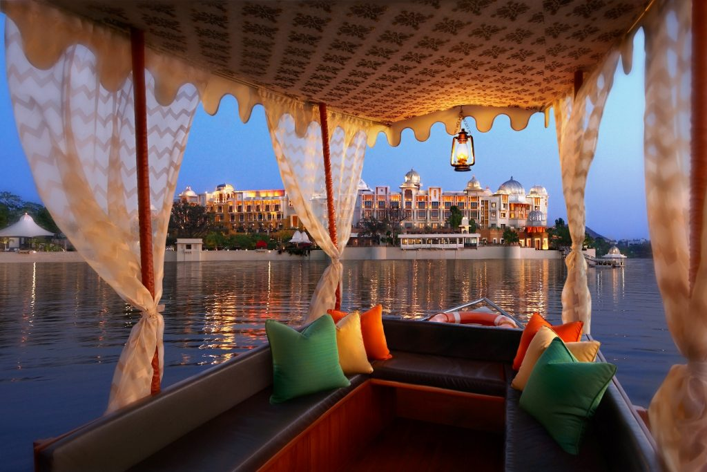 Luxury boat on Lake Pichol at Taj Lake Palace Udaipur