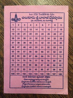 List of the 108 laps at the Balaji Temple