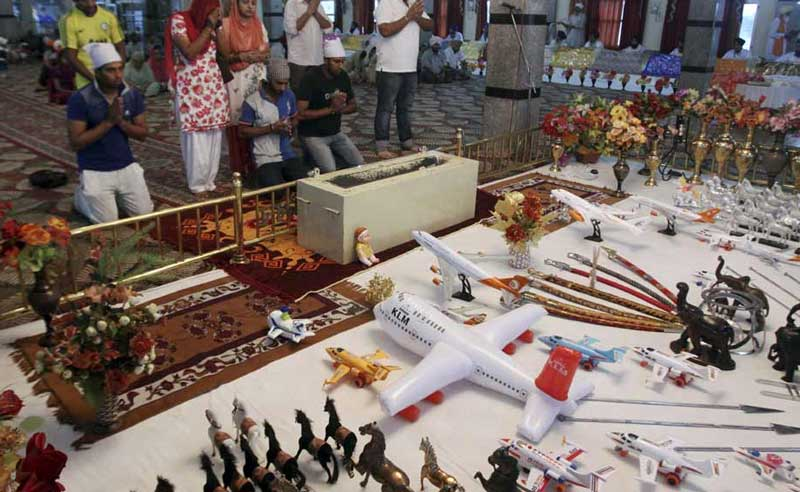 The toy airplanes inside the Balaji Temple Visa