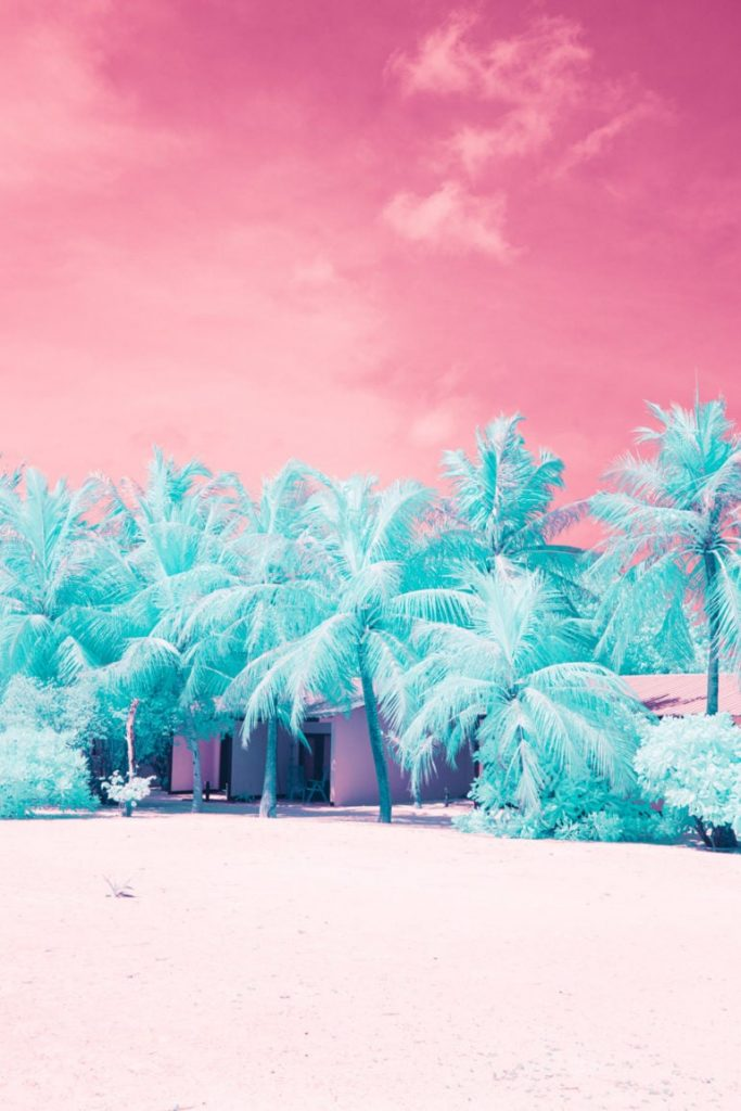 Maldivas al atardecer en infrarrojo