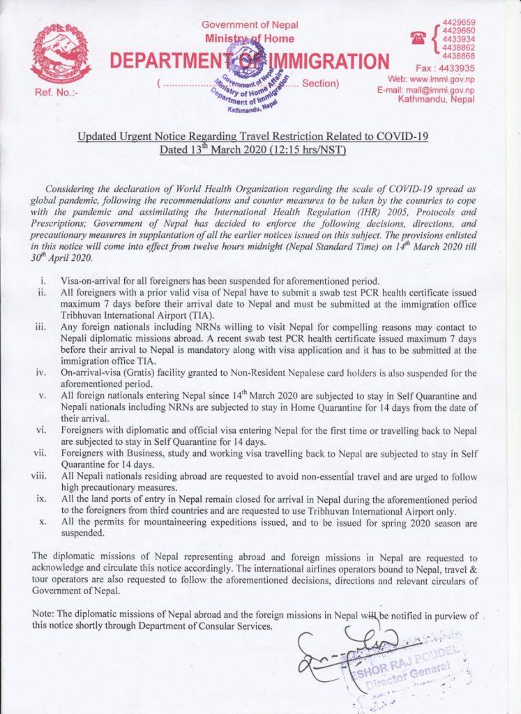 Cancelacion Visas Nepal Coronavirus