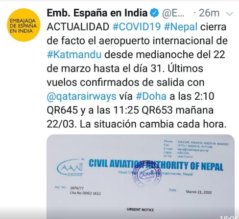 Twitter Embajada Relacionado con Nepal