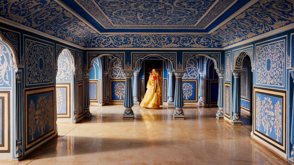 Sala azul del palacio de Jaipur