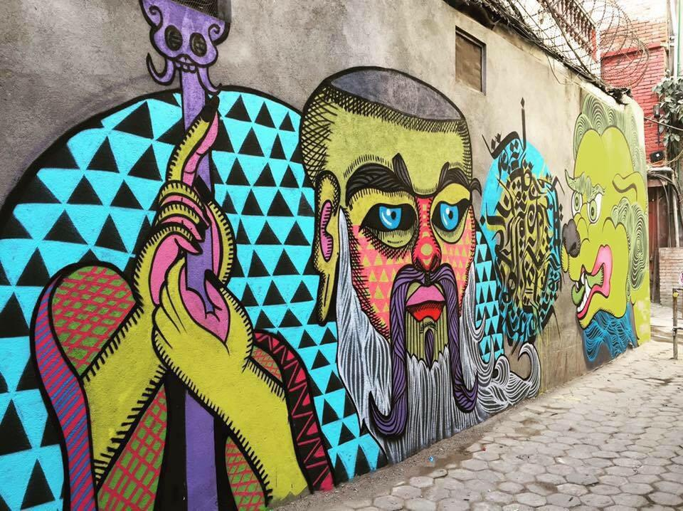 Arte urbano en Katmandú