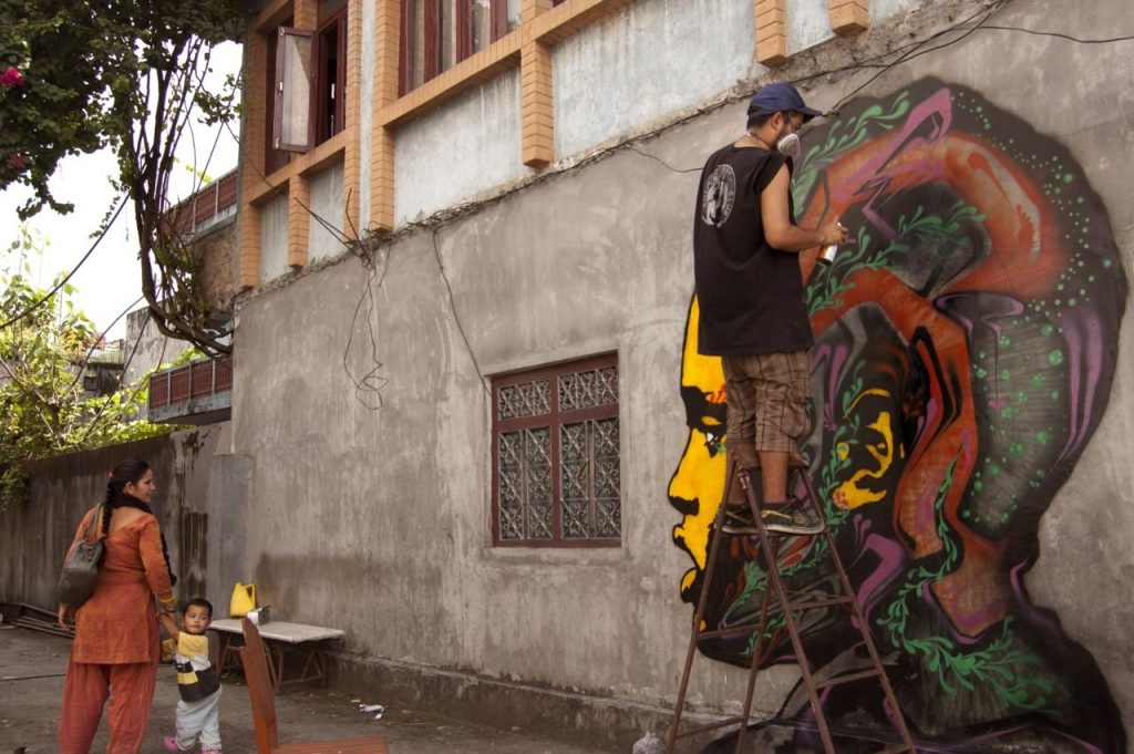Arte urbano en Pokhara